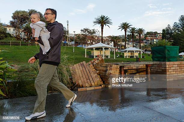The foreshore at Bronte Beach is severely damaged on June 6 2016 in Sydney Australia Torrential rain over the weekend saw streets and homes flooded...