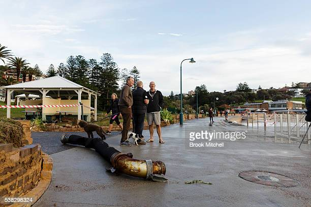 The foreshore at Bronte beach sustained heavy damage from the wild storm surge on June 6 2016 in Sydney Australia Torrential rain over the weekend...