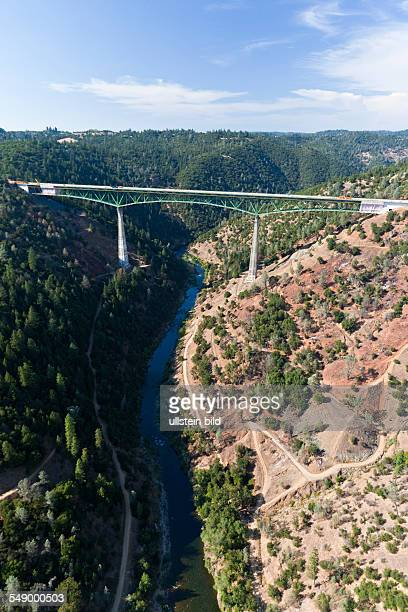 The Foresthill Bridge over the North Fork of the American River is the highest bridge in California .