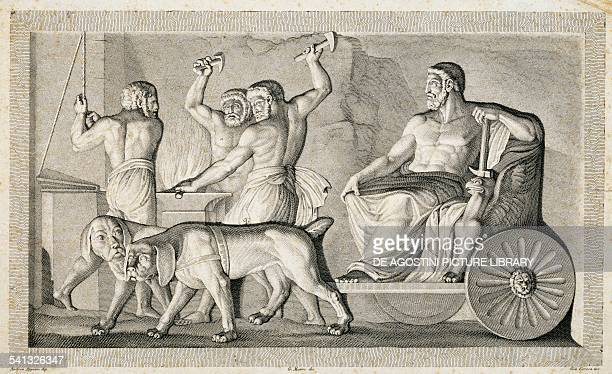 The Forge of Vulcan by G Ceresa engraving Italy 19th century