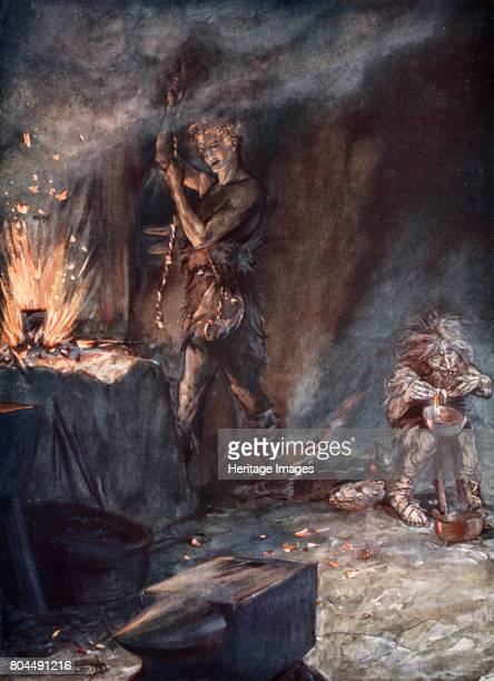 The forging of Nothung' 1924 Illustration from Siegfried and the Twilight of the Gods Wotan told Mime that only someone without fear would be able to...