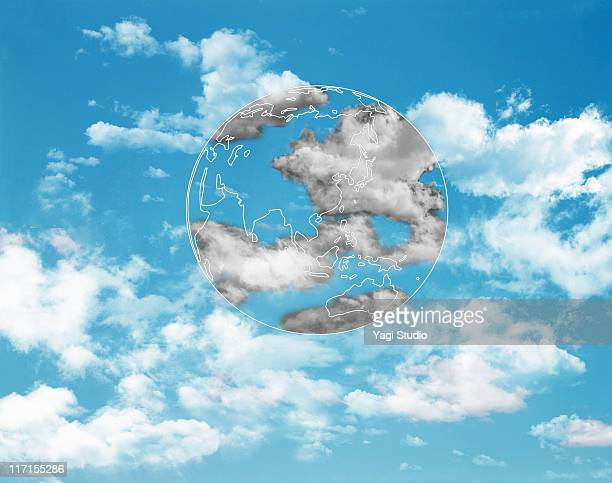 The form of the earth which floats in the blue sky