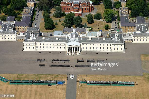 The formal buildings of the Royal Military Academy Sandhurst provides the backdrop to the Officer passing out parade in this aerial photo taken on...