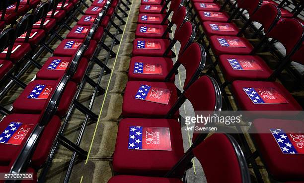 The formal printed 2016 Republican platform sits on the chairs of the state delegates on the floor of the Republican National Convention the morning...