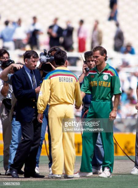 The formalities before the start of play with former Australian captain Ian Chappell interviewing the respective captains, Allan Border of Australia,...