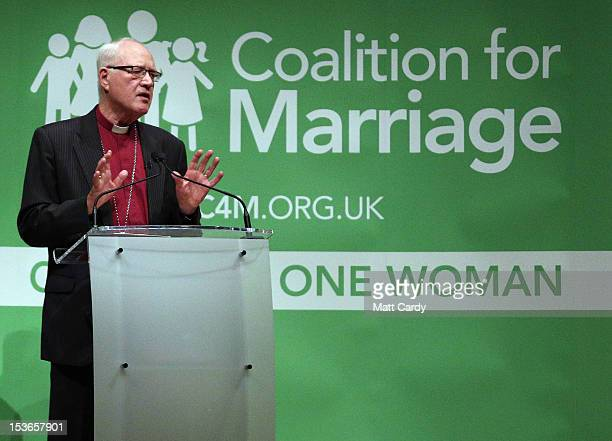 The former Archbishop of Canterbury, Lord Carey, speaks at a Coalition for Marriage fringe event, as part of the Conservative Party Conference close...
