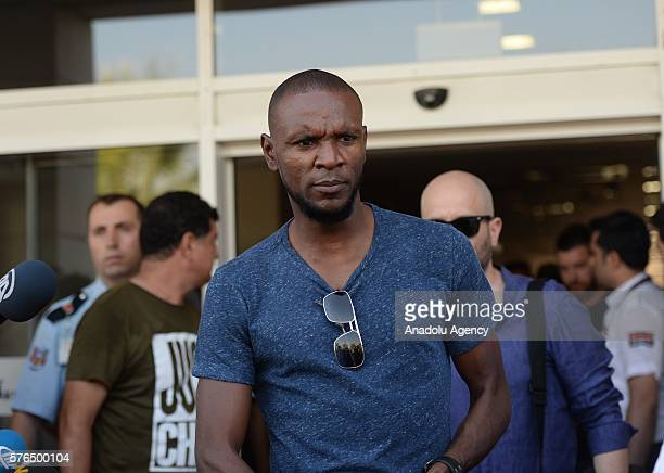 The former Barcelona defender Eric Abidal is seen at the airport during his arrival in Antalya Turkey on July 15 2016 Eric Abidal has arrived in...
