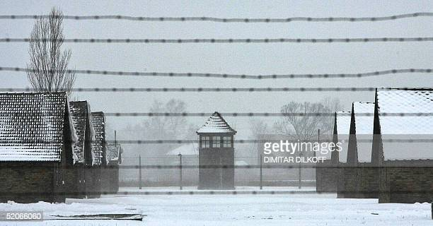 The former Birkenau nazi death camp lies under snow 26 January 2005 one day before the ceremonies marking the 60th anniversary of the liberation of...