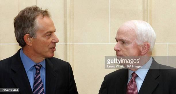 The former British Prime MinisterTony Blair during a meeting with US Senator John McCain at the Mandarin Oriental Hotel Knightsbridge London