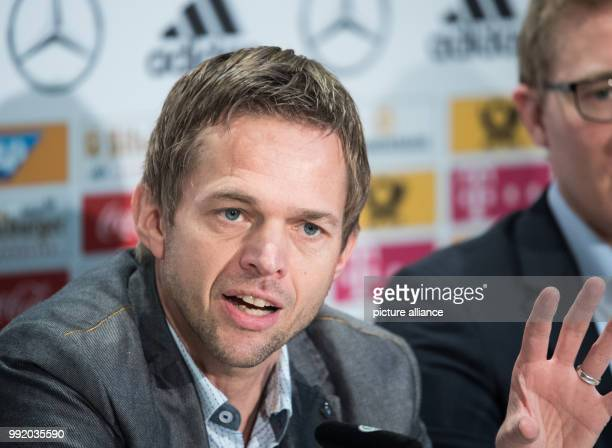 The former Bundesliga referee and video assistant Jochen Drees replies to questions of journalists during a press conference in Frankfurt/Main...