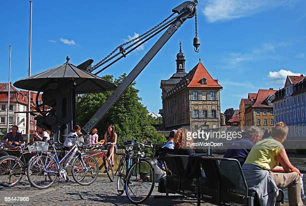 The former City Hall at the river Regnitz with its facade in rococo style on June 11 2009 in Bamberg Germany Bamberg is listed as a World Heritage by...