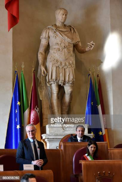 The former coach of English soccer club Leicester City FC, Claudio Ranieri attends the award ceremony at Campidoglio Palace in Rome, Italy on March...
