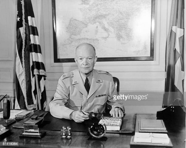 The former Commander in chief of the Allied forces in Europe and the future US President General Dwight David Ike Eisenhower poses for a photographer...