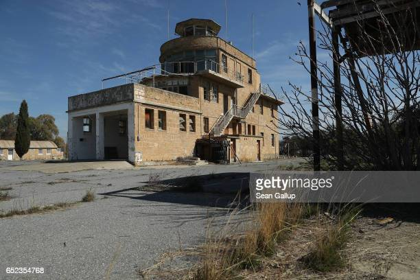 The former control tower at Nicosia International Airport stands decaying inside the buffer zone on the southern, Greek side of the divided city on...