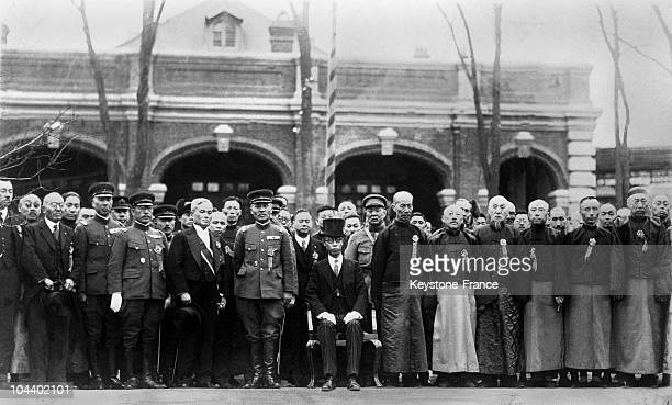 The former emperor of China posing among civil and military Japanese in 1932 in Manchuria PUYI was named emperor of Manchuria after it was invaded by...