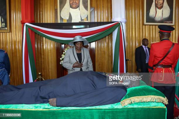The former first lady of Kenya Mama Ngina Kenyatta pays her last respect to the late Daniel Arap Moi at Parliament building The former President of...