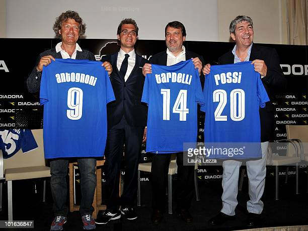 The former football players and World Champions Giancarlo Antognoni Marco Gardelli and Paolo Rossi pose with president of Diadora Enrico Moretti...