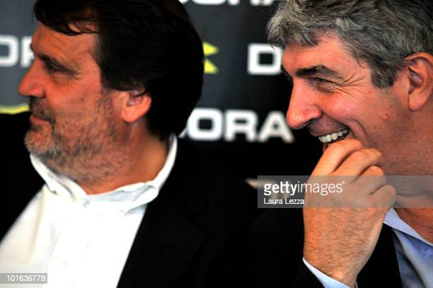 The former football players and World Champions Marco Tardelli and Paolo Rossi attend 'Viareggio calls South Africa' a talk show with the world...