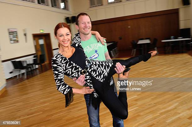 The former freestyle wrestling Alexander Leipold and the professional dancer Oana Andreea Nechiti pose at a photo call for the television competition...