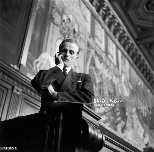 The former French Resistance fighter Rene HARDY during his trial where he was accused of having given up Jean MOULIN to the Nazis in France on April...