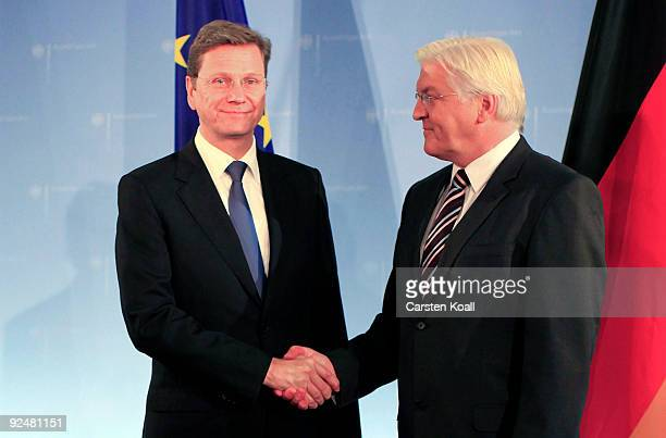 The former German Foreign Minister FrankWalter Steinmeier hands over the tasks to his successor Guido Westerwelle at The Federal Foreign Office on...