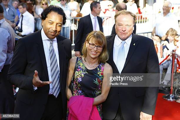 The former German minister for Economic Cooperation and Development Dirk Niebel poses with his wife Andrea Niebel and TV presenter and Editorial...