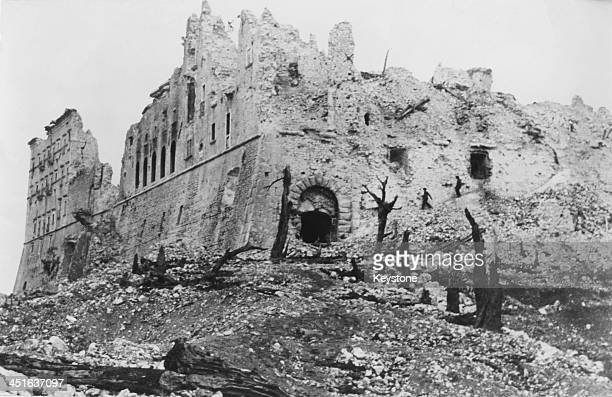 The former German stronghold in the Benedictine Abbey of Monte Cassino in ruins after it was bombed and shelled by allied forces during the Battle of...