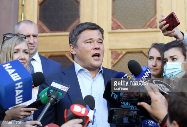 The former Head of Ukraine's Presidential Office Andiy Bohdan speaks with journalists as he arrived for questioning to the State Bureau of...