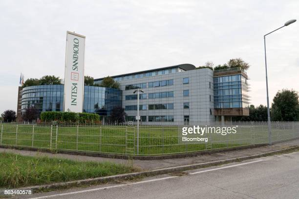 The former headquarters office of Veneto Banca SpA now operated by Intesa Sanpaolo SpA stands in Montebelluna Italy on Wednesday Oct 4 2017 The Most...