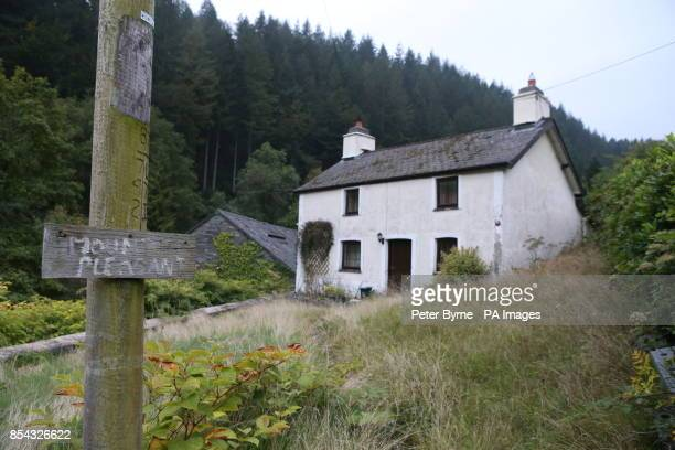 The former home of paedophile Mark Bridger in Ceinws Mid Wales on the day of the funeral of five year old April Jones