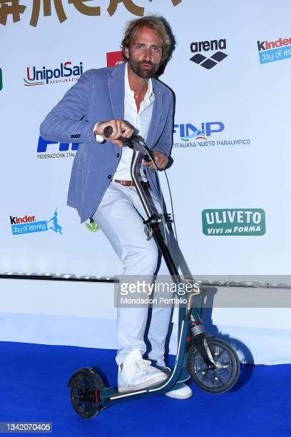 The former Italian swimmer Massimiliano Rosolino on the blue carpet of the Gala I Meravigliosi, an event organized by the Italian swimming federation...