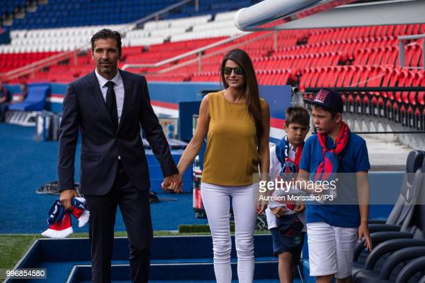 The former Juventus and Italian goalkeeper Gianluigi Buffon and his family attend the press conference announcing his arrival at the Paris Saint...