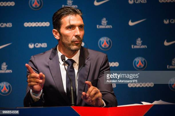 The former Juventus and Italian goalkeeper Gianluigi Buffon attends the press conference announcing his arrival at the Paris Saint Germain on July 9...