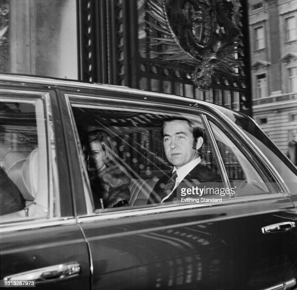 The former King Constantine II of Greece leaves Buckingham Palace in London, UK, with his wife, former Queen Anne-Marie, a few months after the...