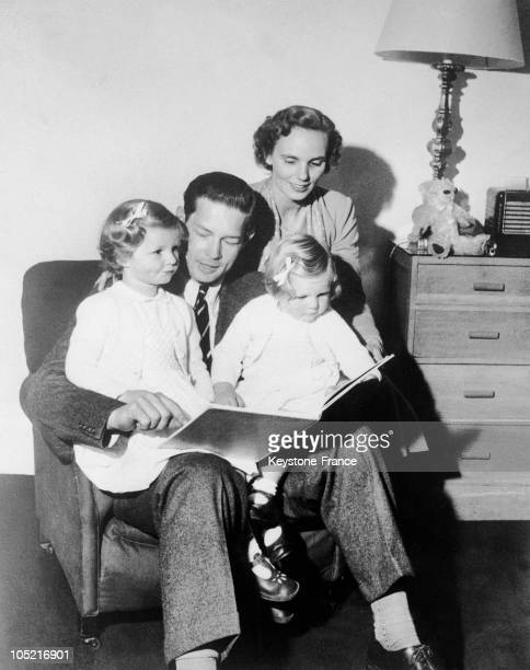 The Former King Michael Of Romania With His Wife Princess Anne Of BourbonParma And Their Children Princesses Margarita And Ileana In Exile At Their...
