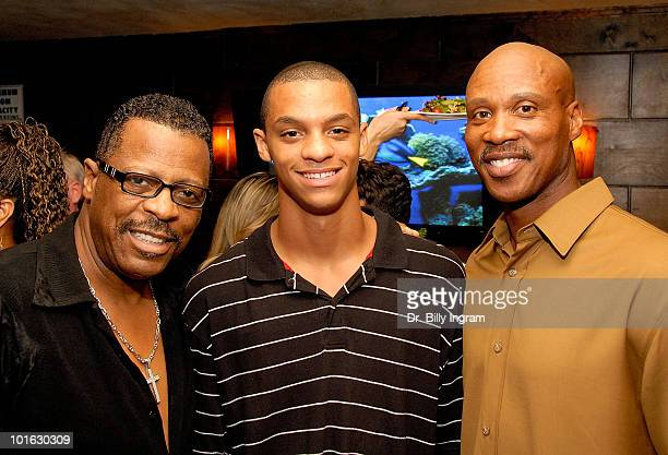 The former lead singer of the Temptations Ali Ollie Woodson AJ and NBA athlete Bryon Scott attend a birthday celebration for NBA athlete Bryon Scott...