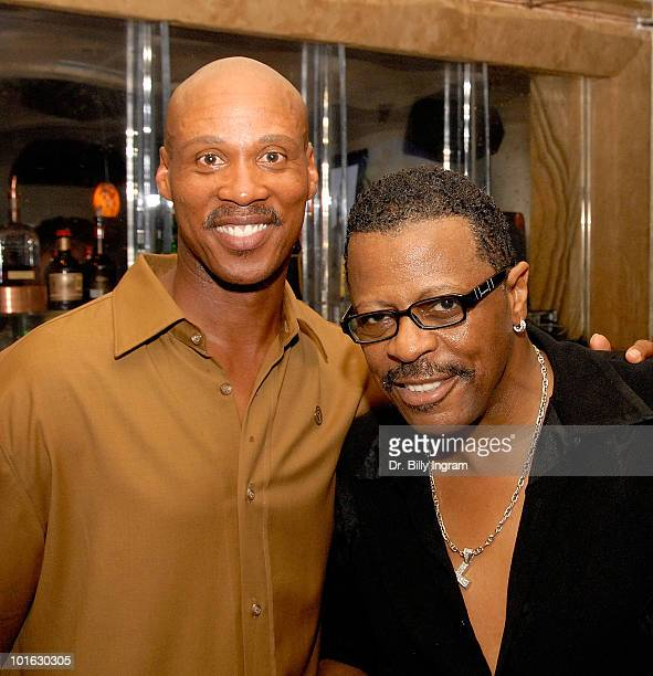 The former lead singer of the Temptations Ali Ollie Woodson and NBA athlete Bryon Scott attend a birthday celebration for NBA athlete Bryon Scott on...
