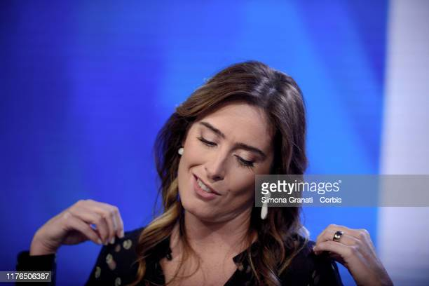 The former Minister Maria Elena Boschi member of the party Italia Viva born from the split of the Democratic Party reacts as she participates in the...