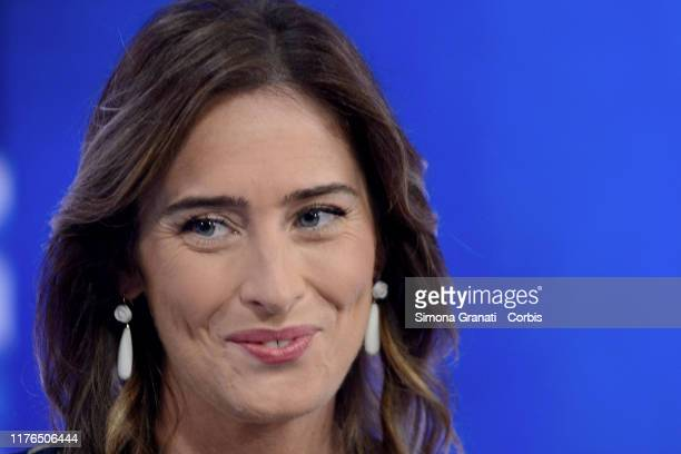 The former Minister Maria Elena Boschi member of the party Italia Viva born from the split of the Democratic Party participates in the television...