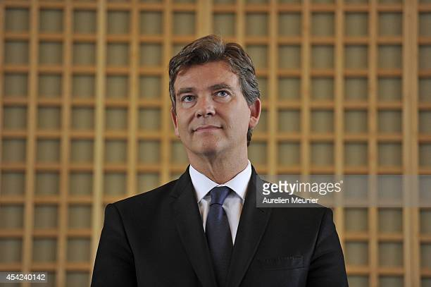 The former Minister of Finance Arnaud Montebourg attends at the inaugural speech of the new Minister of Finance Emmanuel Macron at Ministere des...