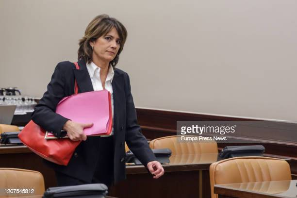 The former minister of Justice and prosecutor, Dolores Delgado at the Justice Commission of the Congress of Deputies moments before appearing in...