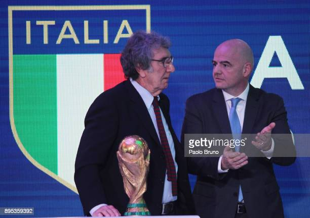 The former player Dino Zoff and FIFA President Gianni Infantino attend the Italian Olympic Committee 'Collari D'Oro' Awards at Foro Italico on...