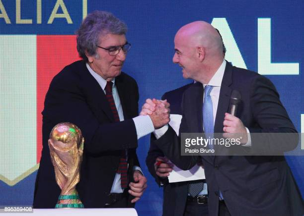The former player Dino Zoff shakes the hands with the FIFA President Gianni Infantino attend the Italian Olympic Committee 'Collari D'Oro' Awards at...