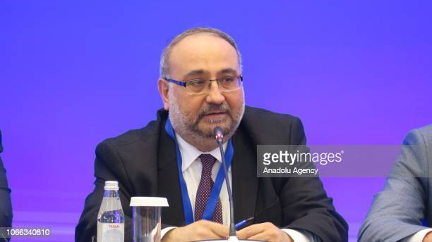 The former premier of the Syrian interim government Ahmed Tuma makes a speech as he attends the 11th round of Syria peace talks in Astana Kazakhstan...