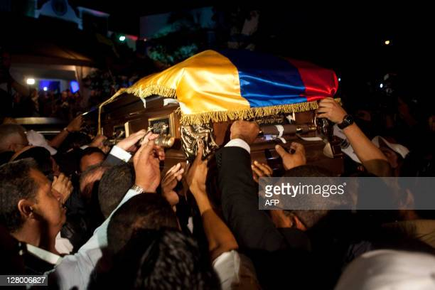 The former president Carlos Andres Perez coffin arrives in Caracas on October 4 2011 The remains of Perez a twoterm president and influential figure...