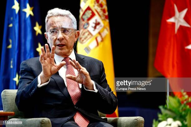 The former president of Colombia Álvaro Uribe is seen at University Francisco de Vitoria having a dialogue called 'El perfil político del siglo XXI'...