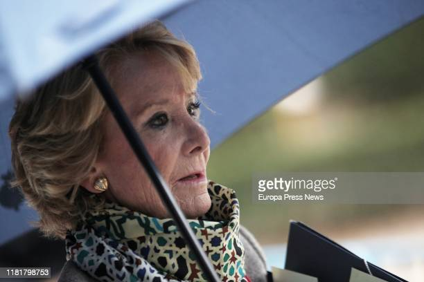 The former president of Madrid Esperanza Aguirre arrives at the Spanish National Court on October 18 2019 in Madrid Spain Esperanza was there to...