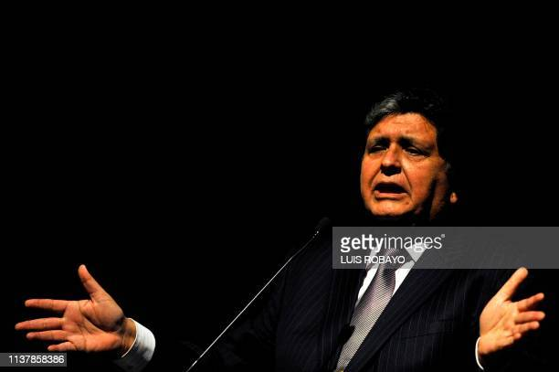 The former president of Peru Alan Garcia speaks during the First International Meeting of the Pacific Basin in Cali Colombia on October 5 2011 During...