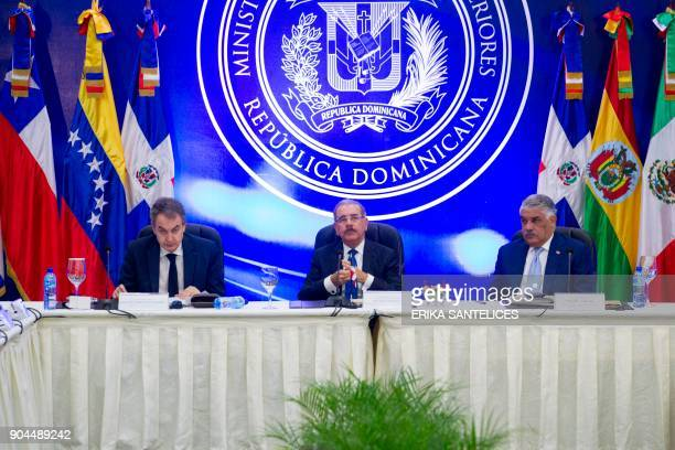 The former president of Spanish government Jose Luis Rodriguez Zapatero Dominican President Danilo Medina and Dominican Republic's Foreign Relations...