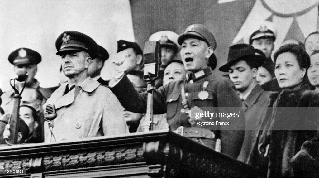 Chiang-Kai Shek In Shanghai : News Photo